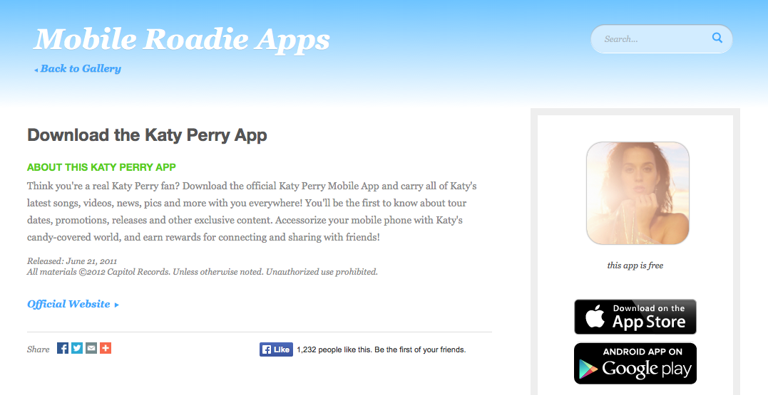 Official Katy Perry Mobile App Description